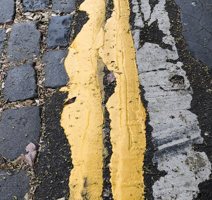 Yellow lines: wonky and thick